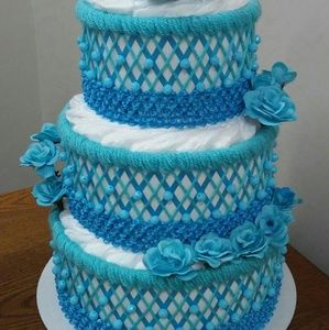 Turquoise Blue Themed Baby Shower Diaper Cake Gift